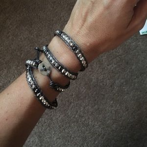 Black and Silver Beaded Wrap Bracelet